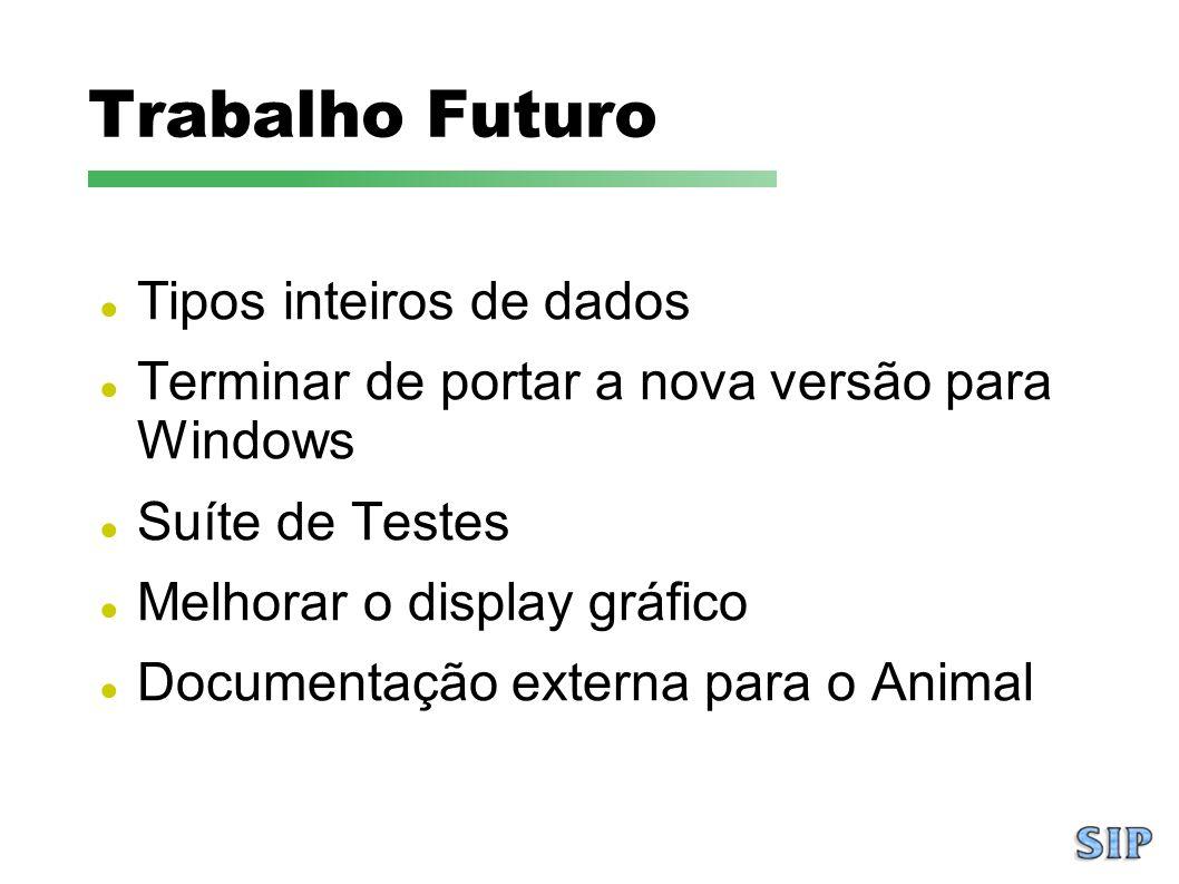 Trabalho Futuro Tipos inteiros de dados Terminar de portar a nova versão para Windows Suíte de Testes Melhorar o display gráfico Documentação externa