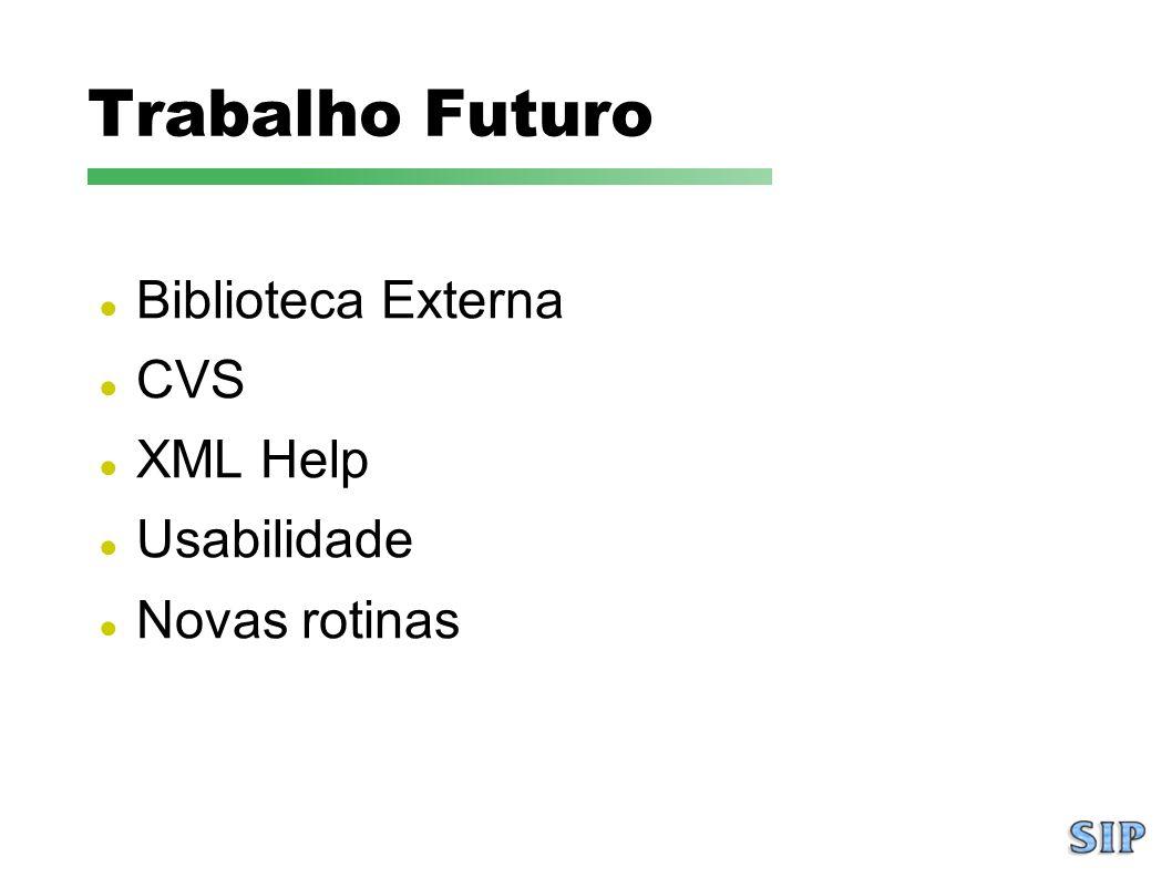 Biblioteca Externa CVS XML Help Usabilidade Novas rotinas Trabalho Futuro