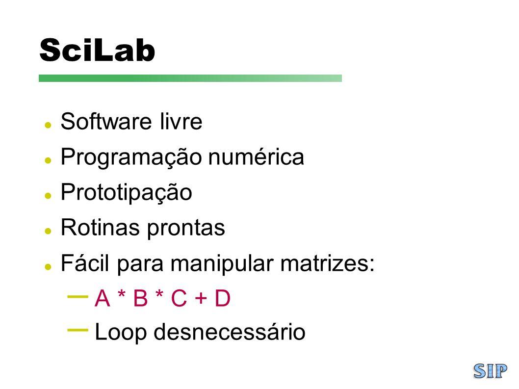 SciLab Software livre Programação numérica Prototipação Rotinas prontas Fácil para manipular matrizes: – A * B * C + D – Loop desnecessário