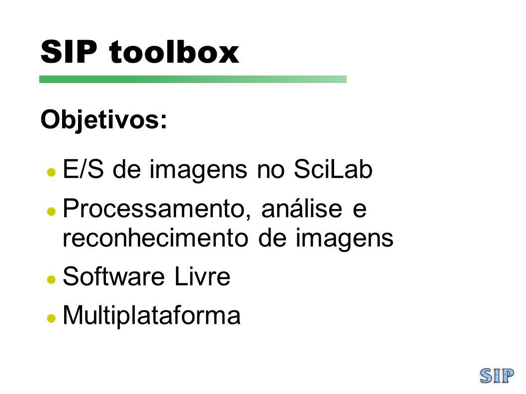 SIP toolbox E/S de imagens no SciLab Processamento, análise e reconhecimento de imagens Software Livre Multiplataforma Objetivos: