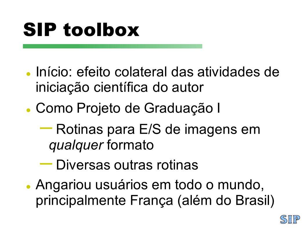 SIP toolbox Início: efeito colateral das atividades de iniciação científica do autor Como Projeto de Graduação I – Rotinas para E/S de imagens em qual