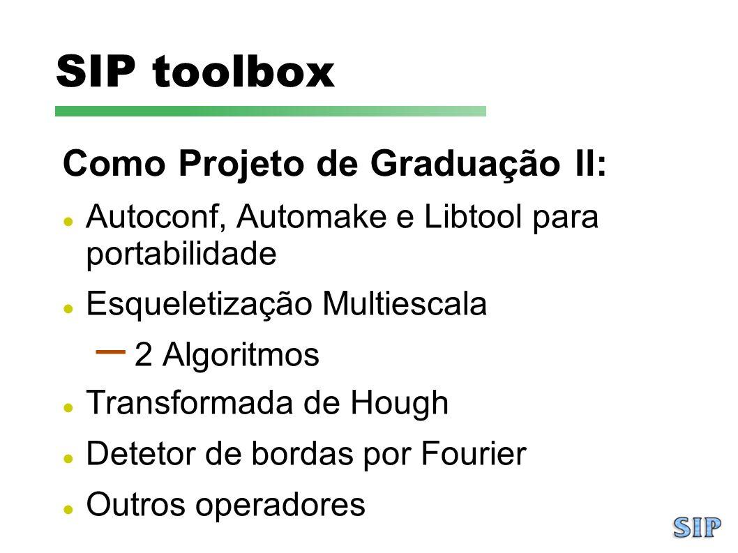 SIP toolbox Como Projeto de Graduação II: Autoconf, Automake e Libtool para portabilidade Esqueletização Multiescala – 2 Algoritmos Transformada de Ho