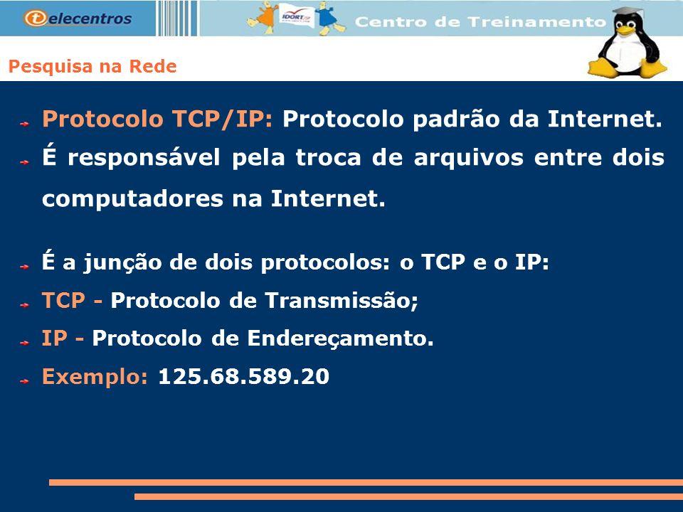Pesquisa na Rede Protocolo TCP/IP: Protocolo padrão da Internet. É responsável pela troca de arquivos entre dois computadores na Internet. É a junção
