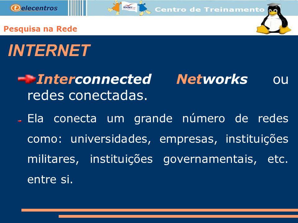 INTERNET Pesquisa na Rede Interconnected Networks ou redes conectadas. Ela conecta um grande número de redes como: universidades, empresas, instituiçõ