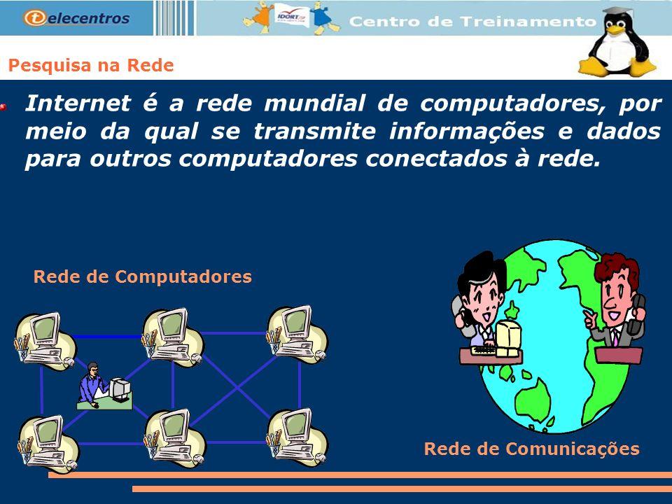 Internet é a rede mundial de computadores, por meio da qual se transmite informações e dados para outros computadores conectados à rede. Pesquisa na R