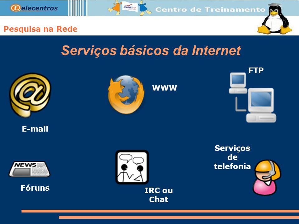 Pesquisa na Rede Serviços básicos da Internet E-mail WWW FTP Fóruns IRC ou Chat Serviços de telefonia