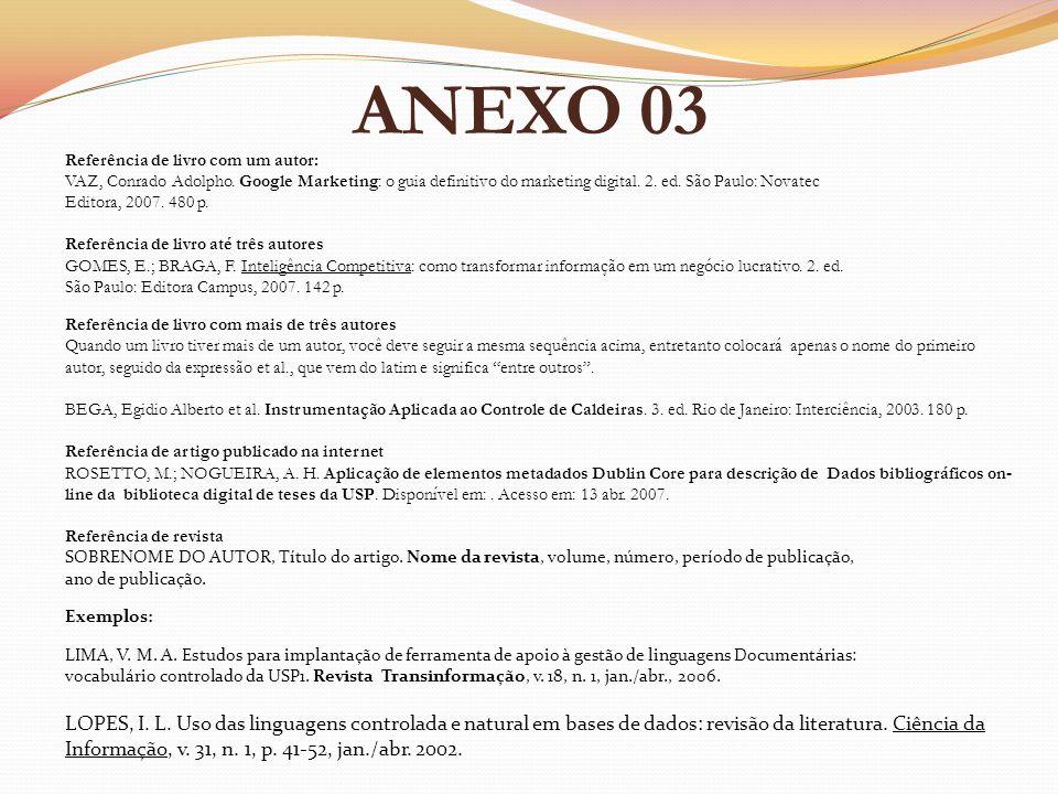 ANEXO 03 Referência de livro com um autor: VAZ, Conrado Adolpho. Google Marketing: o guia definitivo do marketing digital. 2. ed. São Paulo: Novatec E