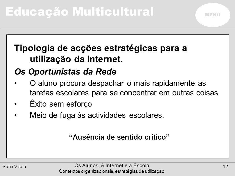 Educação Multicultural MENU Sofia Viseu Os Alunos, A Internet e a Escola Contextos organizacionais, estratégias de utilização 12 Tipologia de acções e