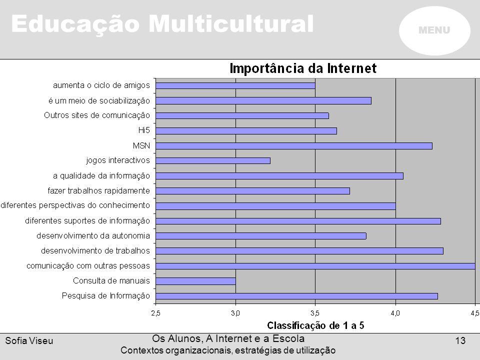 Educação Multicultural MENU Sofia Viseu Os Alunos, A Internet e a Escola Contextos organizacionais, estratégias de utilização 13