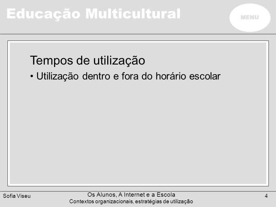 Educação Multicultural MENU Sofia Viseu Os Alunos, A Internet e a Escola Contextos organizacionais, estratégias de utilização 4 Tempos de utilização O