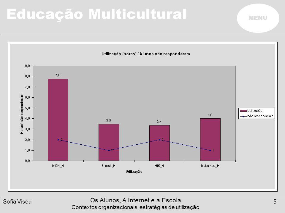 Educação Multicultural MENU Sofia Viseu Os Alunos, A Internet e a Escola Contextos organizacionais, estratégias de utilização 6 Objectivos e intencionalidade nas utilizações Na presença dos professores - 10% dos casos.