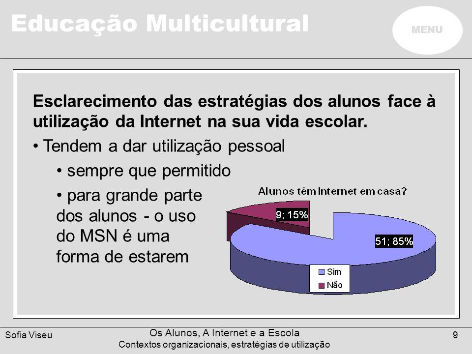 Educação Multicultural MENU Sofia Viseu Os Alunos, A Internet e a Escola Contextos organizacionais, estratégias de utilização 9 Esclarecimento das est