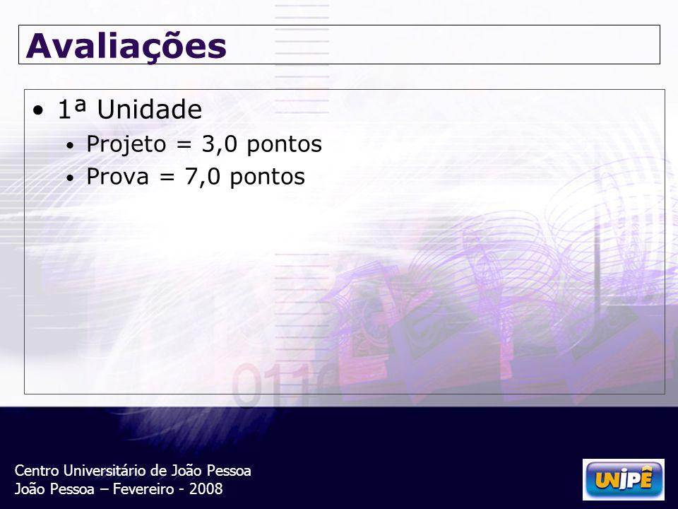 Centro Universitário de João Pessoa João Pessoa – Fevereiro - 2008 Avaliações 1ª Unidade Projeto = 3,0 pontos Prova = 7,0 pontos