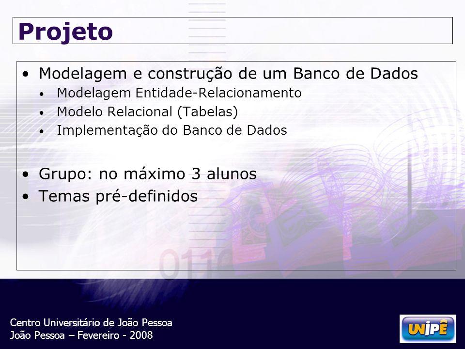 Centro Universitário de João Pessoa João Pessoa – Fevereiro - 2008 Projeto Modelagem e construção de um Banco de Dados Modelagem Entidade-Relacionamen