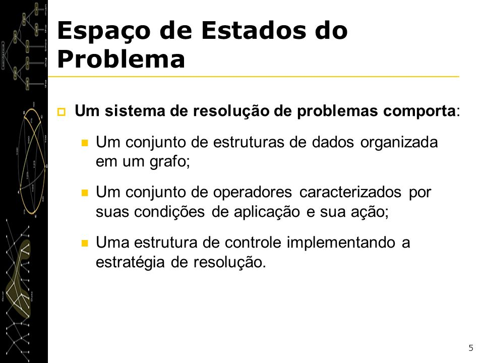 5 Espaço de Estados do Problema Um sistema de resolução de problemas comporta: Um conjunto de estruturas de dados organizada em um grafo; Um conjunto