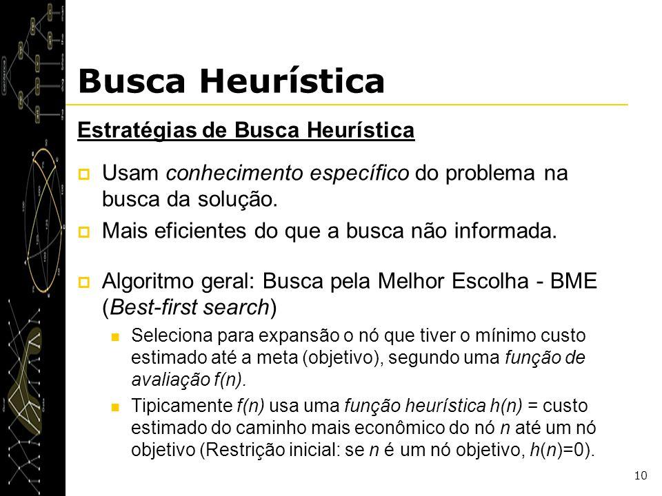 10 Busca Heurística Estratégias de Busca Heurística Usam conhecimento específico do problema na busca da solução. Mais eficientes do que a busca não i
