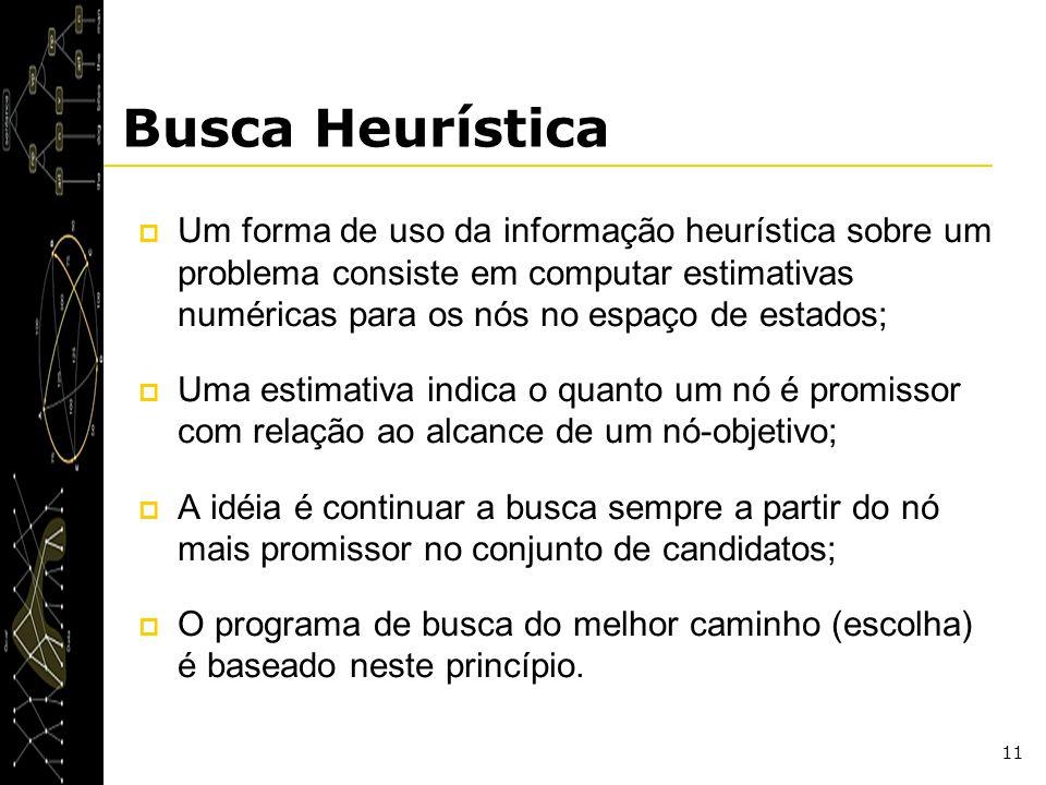 11 Busca Heurística Um forma de uso da informação heurística sobre um problema consiste em computar estimativas numéricas para os nós no espaço de est