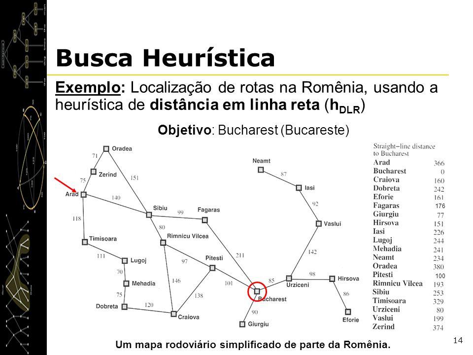 14 Busca Heurística Exemplo: Localização de rotas na Romênia, usando a heurística de distância em linha reta (h DLR ) Objetivo: Bucharest (Bucareste)