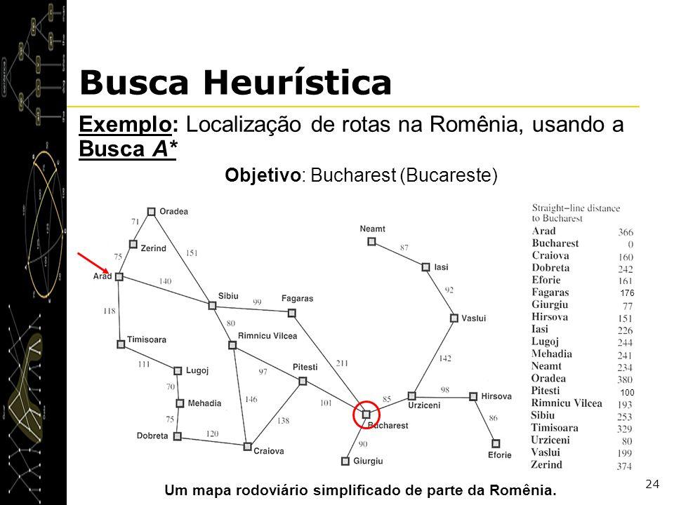 24 Busca Heurística Exemplo: Localização de rotas na Romênia, usando a Busca A* Objetivo: Bucharest (Bucareste) Um mapa rodoviário simplificado de par