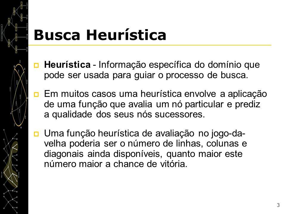 3 Heurística - Informação específica do domínio que pode ser usada para guiar o processo de busca. Em muitos casos uma heurística envolve a aplicação