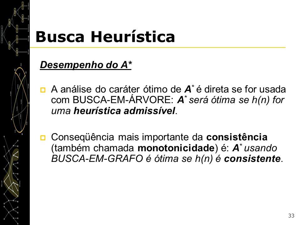 33 Busca Heurística Desempenho do A* A análise do caráter ótimo de A * é direta se for usada com BUSCA-EM-ÁRVORE: A * será ótima se h(n) for uma heurí