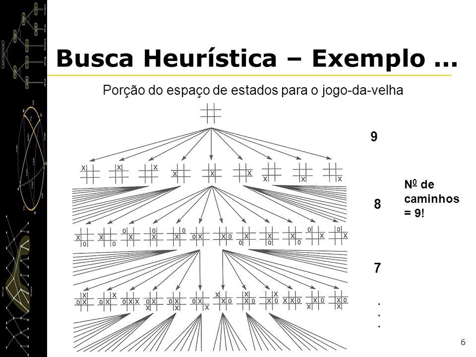 6 Busca Heurística – Exemplo... Porção do espaço de estados para o jogo-da-velha 9 8 7...... N 0 de caminhos = 9!