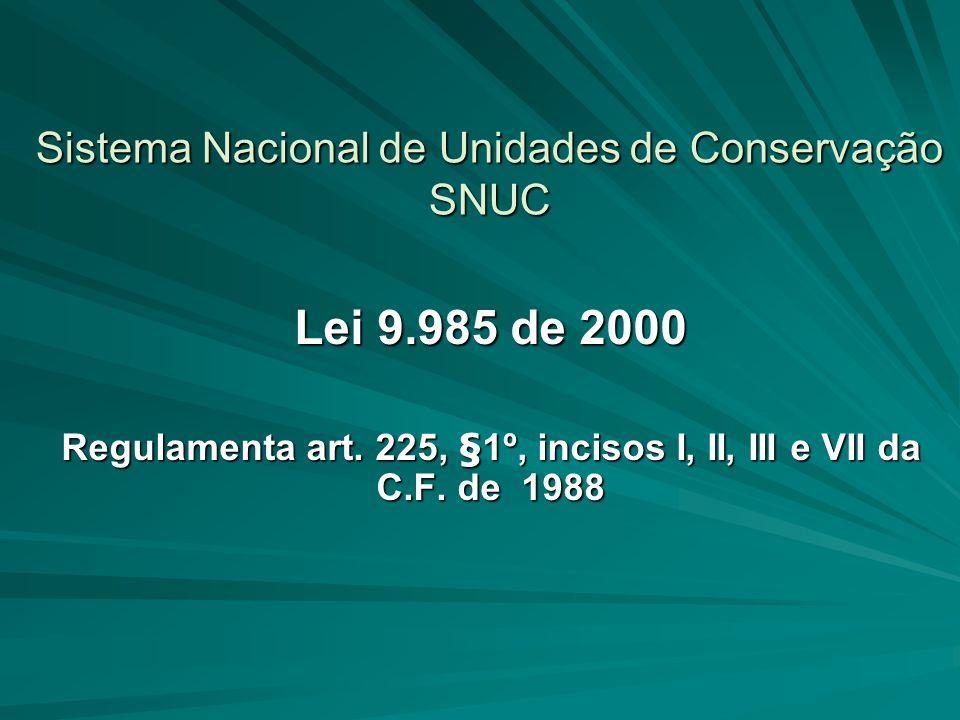 SNUC Conceito É o conjunto organizado de unidades de conservação protegidas (federais, estaduais, municipais) que, planejado, manejado e gerenciado como um todo será capaz de viabilizar os objetivos nacionais de conservação.