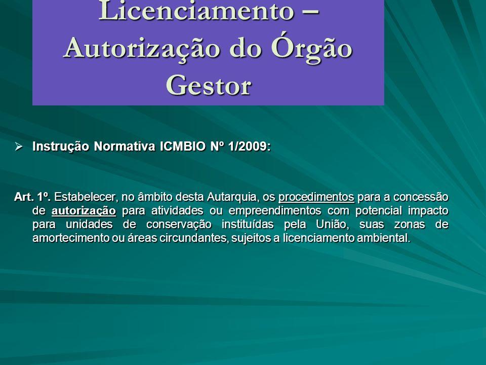 Licenciamento – Autorização do Órgão Gestor Instrução Normativa ICMBIO Nº 1/2009: Instrução Normativa ICMBIO Nº 1/2009: Art. 1º. Estabelecer, no âmbit