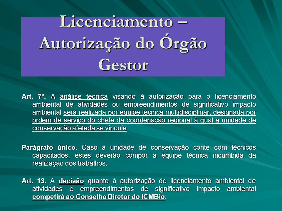 Licenciamento – Autorização do Órgão Gestor Art. 7º. A análise técnica visando à autorização para o licenciamento ambiental de atividades ou empreendi