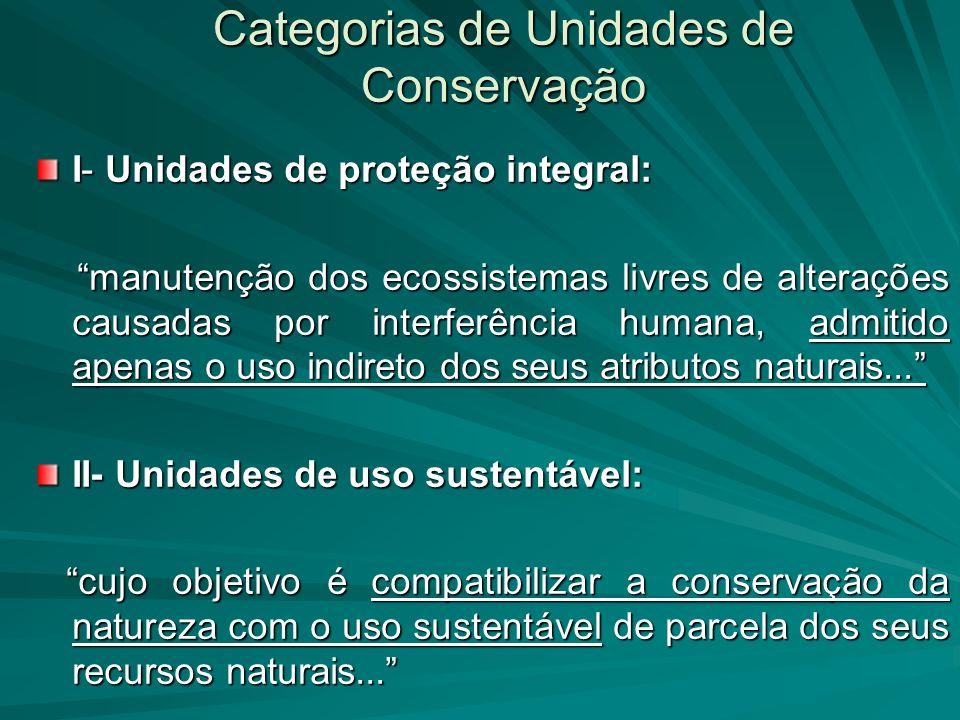 Categorias de Unidades de Conservação I- Unidades de proteção integral: manutenção dos ecossistemas livres de alterações causadas por interferência hu