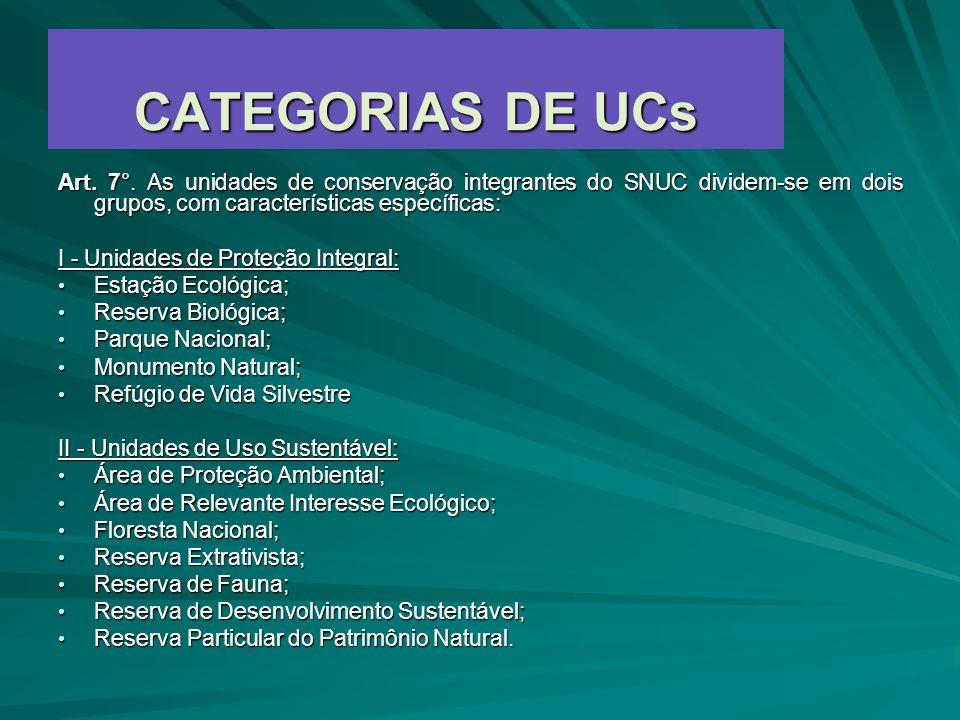 CATEGORIAS DE UCs Art. 7°. As unidades de conservação integrantes do SNUC dividem-se em dois grupos, com características específicas: I - Unidades de