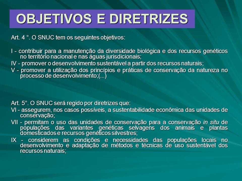 OBJETIVOS E DIRETRIZES Art. 4 °. O SNUC tem os seguintes objetivos: I - contribuir para a manutenção da diversidade biológica e dos recursos genéticos