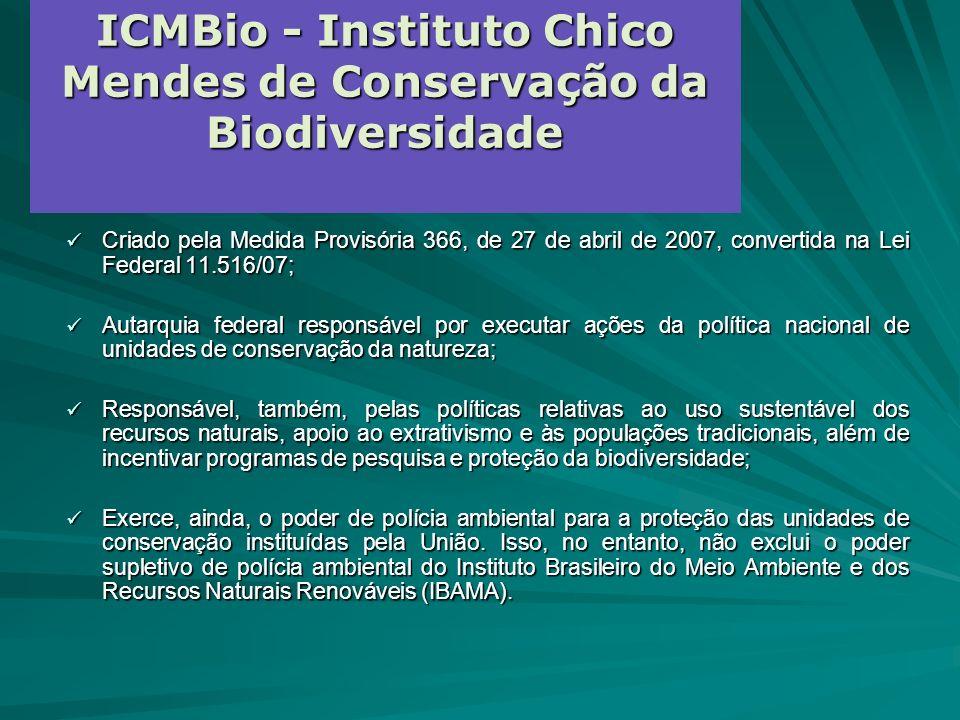 ICMBio - Instituto Chico Mendes de Conservação da Biodiversidade Criado pela Medida Provisória 366, de 27 de abril de 2007, convertida na Lei Federal