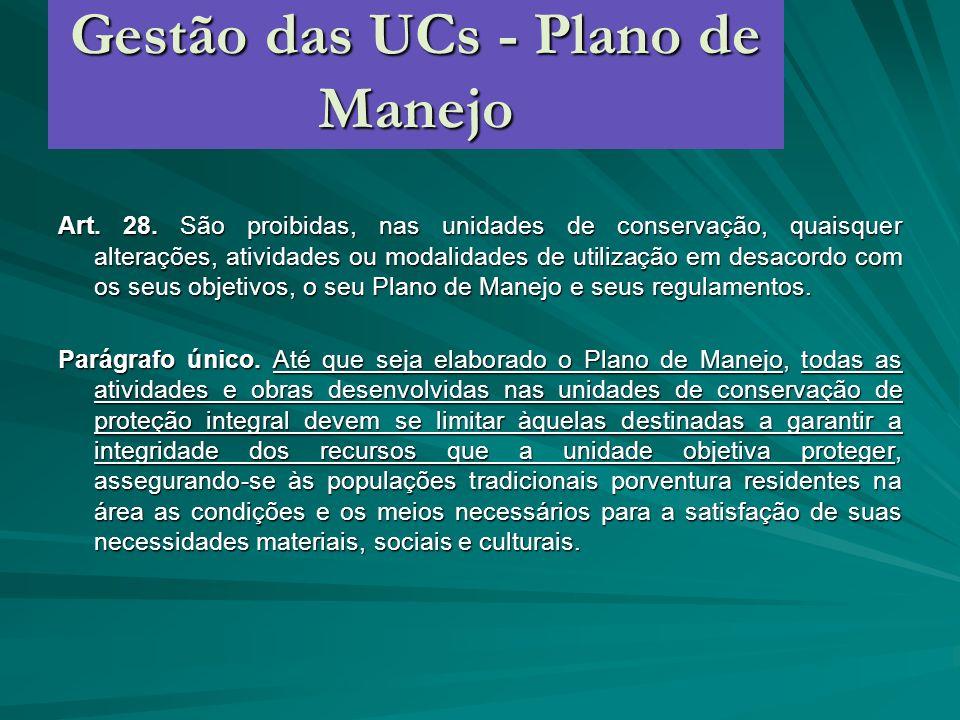 Gestão das UCs - Plano de Manejo Art. 28. São proibidas, nas unidades de conservação, quaisquer alterações, atividades ou modalidades de utilização em