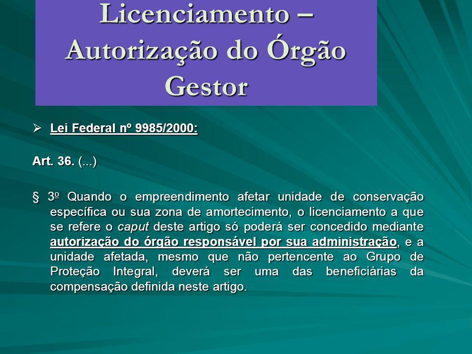 Licenciamento – Autorização do Órgão Gestor Lei Federal nº 9985/2000: Lei Federal nº 9985/2000: Art. 36. (...) § 3 o Quando o empreendimento afetar un