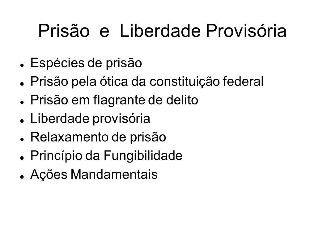 Prisão e Liberdade Provisória Espécies de prisão Prisão pela ótica da constituição federal Prisão em flagrante de delito Liberdade provisória Relaxame