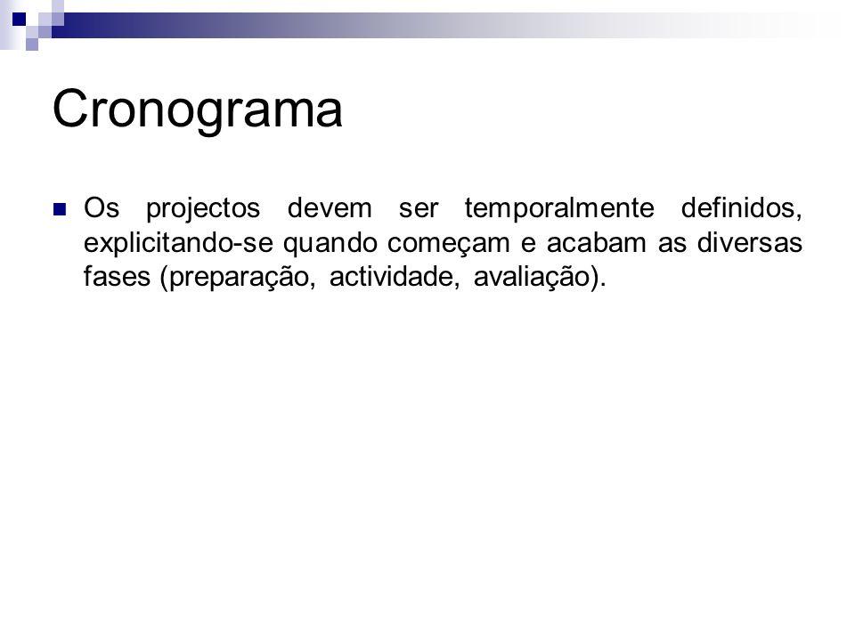 Cronograma Os projectos devem ser temporalmente definidos, explicitando-se quando começam e acabam as diversas fases (preparação, actividade, avaliaçã