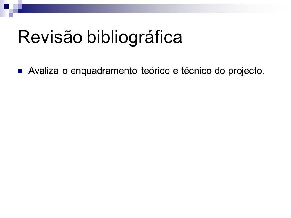 Revisão bibliográfica Avaliza o enquadramento teórico e técnico do projecto.