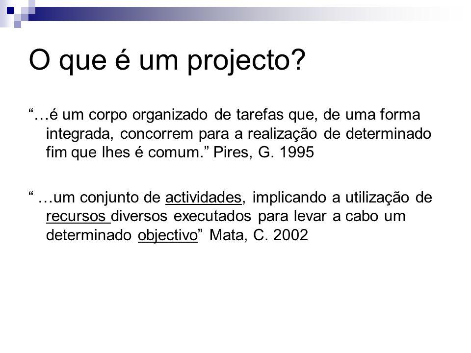 O que é um projecto? …é um corpo organizado de tarefas que, de uma forma integrada, concorrem para a realização de determinado fim que lhes é comum. P