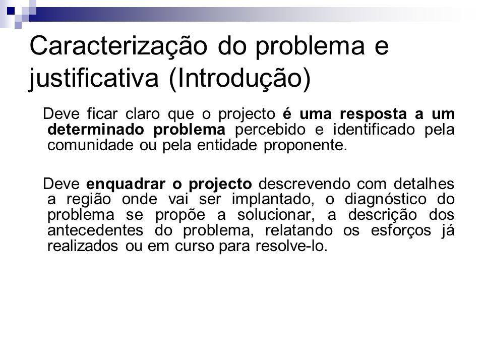 Caracterização do problema e justificativa (Introdução) Deve ficar claro que o projecto é uma resposta a um determinado problema percebido e identific