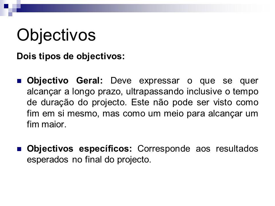 Objectivos Dois tipos de objectivos: Objectivo Geral: Deve expressar o que se quer alcançar a longo prazo, ultrapassando inclusive o tempo de duração