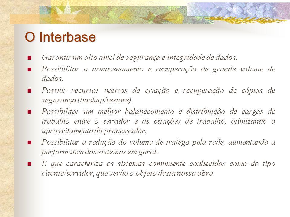 Apresentar o SGBD Interbase, criação de banco de dados (CREATE DATABASE), criação e remoção de tabelas (CREATE TABLE / DROP TABLE), tipos de dados, al