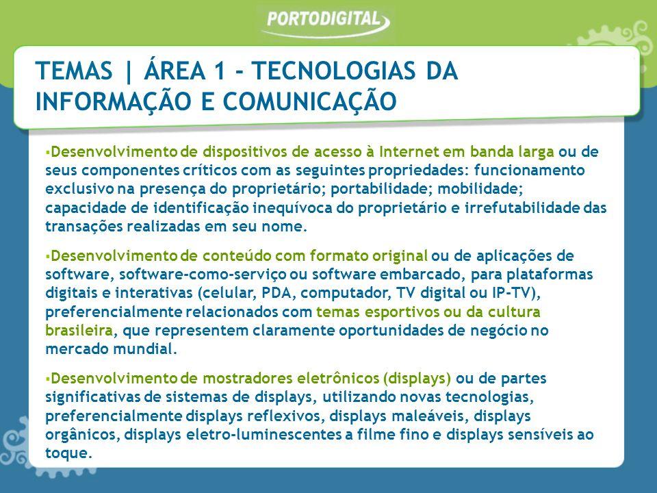 Desenvolvimento de dispositivos de acesso à Internet em banda larga ou de seus componentes críticos com as seguintes propriedades: funcionamento exclu