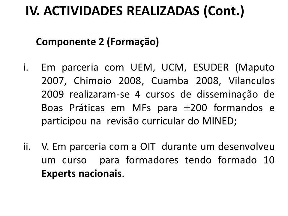 IV. ACTIVIDADES REALIZADAS (Cont.) Componente 2 (Formação) i.Em parceria com UEM, UCM, ESUDER (Maputo 2007, Chimoio 2008, Cuamba 2008, Vilanculos 2009