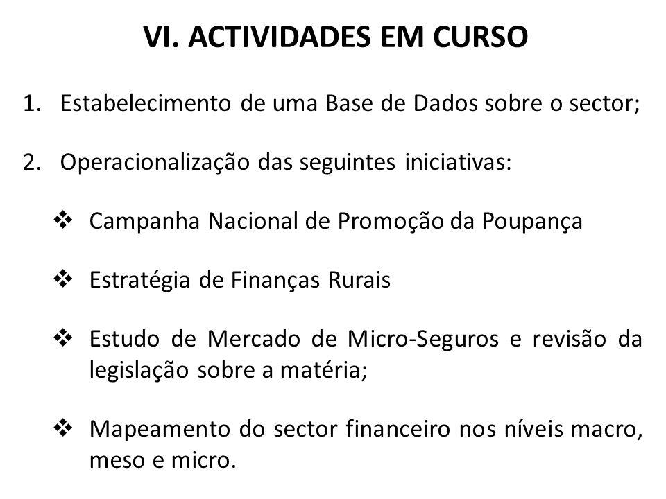 VI. ACTIVIDADES EM CURSO 1.Estabelecimento de uma Base de Dados sobre o sector; 2.Operacionalização das seguintes iniciativas: Campanha Nacional de Pr