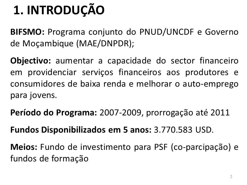 1. INTRODUÇÃO 3 BIFSMO: Programa conjunto do PNUD/UNCDF e Governo de Moçambique (MAE/DNPDR); Objectivo: aumentar a capacidade do sector financeiro em