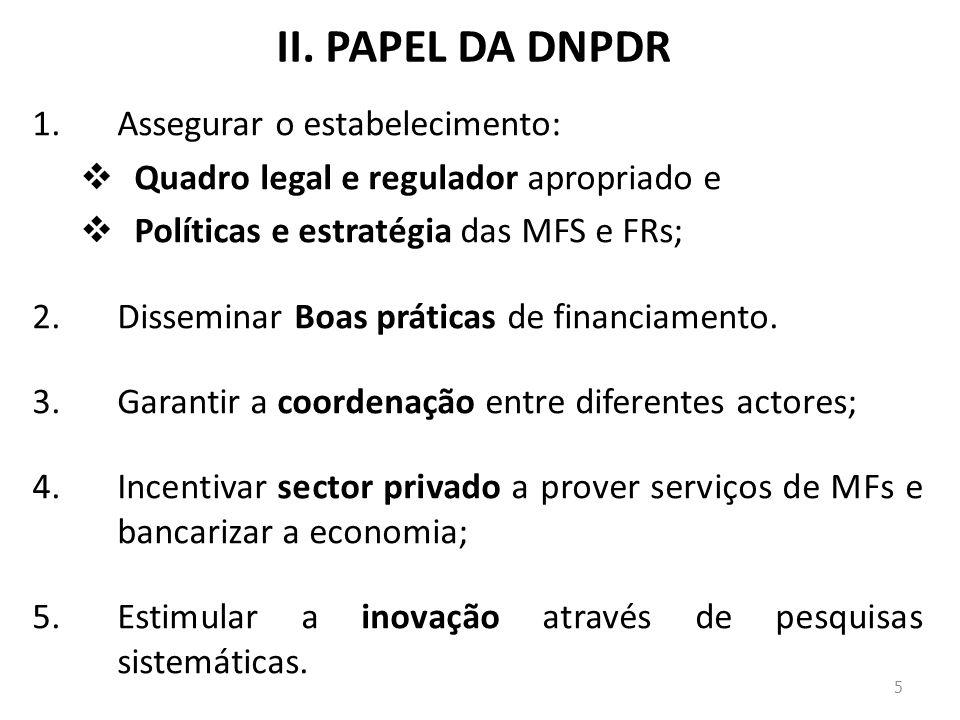 II. PAPEL DA DNPDR 1.Assegurar o estabelecimento: Quadro legal e regulador apropriado e Políticas e estratégia das MFS e FRs; 2.Disseminar Boas prátic