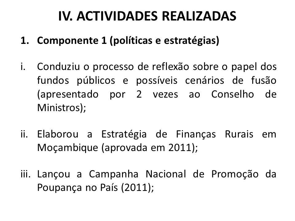 IV. ACTIVIDADES REALIZADAS 1.Componente 1 (políticas e estratégias) i.Conduziu o processo de reflexão sobre o papel dos fundos públicos e possíveis ce