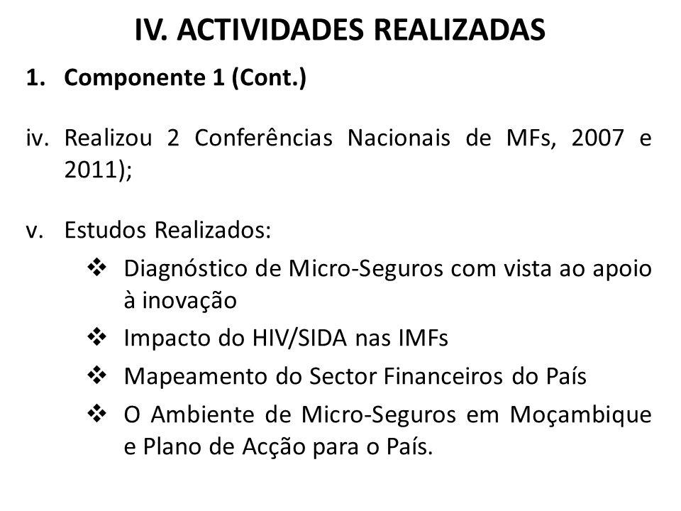 IV. ACTIVIDADES REALIZADAS 1.Componente 1 (Cont.) iv.Realizou 2 Conferências Nacionais de MFs, 2007 e 2011); v.Estudos Realizados: Diagnóstico de Micr