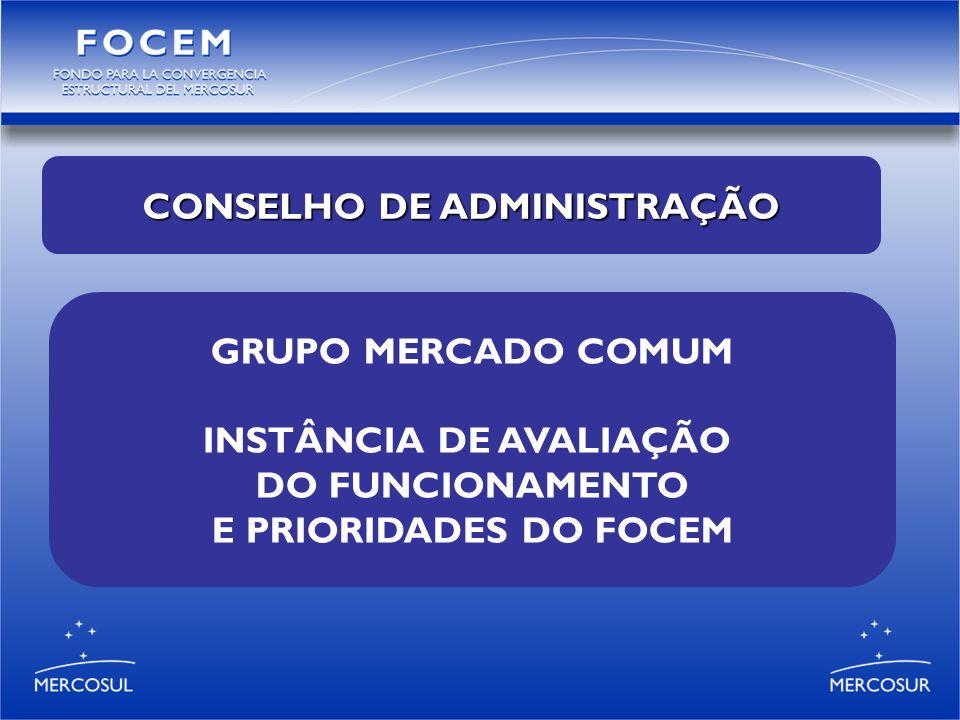 GRUPO MERCADO COMUM INSTÂNCIA DE AVALIAÇÃO DO FUNCIONAMENTO E PRIORIDADES DO FOCEM CONSELHO DE ADMINISTRAÇÃO